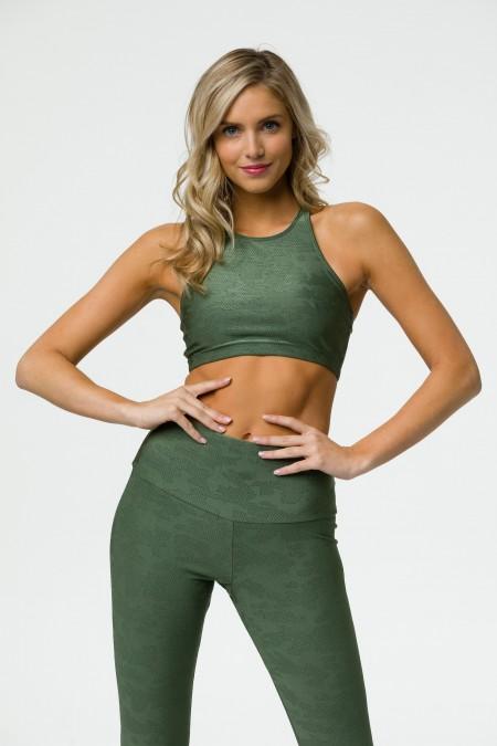 Onzie Jacquard alyvuogių žalia sportinė liemenėle jogai